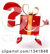 Clipart Of A 3d Happy Red Gift Character Holding A Question Mark And Jumping Royalty Free Illustration by Julos