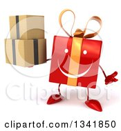 Clipart Of A 3d Happy Red Gift Character Shrugging And Holding Boxes Royalty Free Illustration by Julos