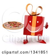 Clipart Of A 3d Happy Red Gift Character Giving A Thumb Up And Holding A Pizza Royalty Free Illustration by Julos