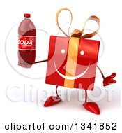 Clipart Of A 3d Happy Red Gift Character Shrugging And Holding A Soda Bottle Royalty Free Illustration by Julos