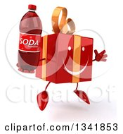 Clipart Of A 3d Happy Red Gift Character Facing Slightly Right Jumping And Holding A Soda Bottle Royalty Free Illustration by Julos