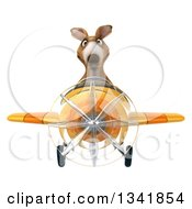 Clipart Of A 3d Kangaroo Aviator Pilot Flying A Yellow Airplane Royalty Free Illustration