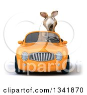 Clipart Of A 3d Kangaroo Driving An Orange Convertible Car Royalty Free Illustration