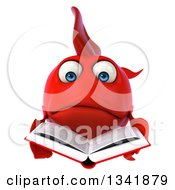 Clipart Of A 3d Sad Red Fish Reading A Book Royalty Free Illustration by Julos