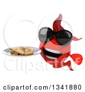 Clipart Of A 3d Red Fish Wearing Sunglasses And Holding A Plate Of French Fries Royalty Free Illustration by Julos