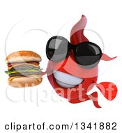 Clipart Of A 3d Red Fish Wearing Sunglasses And Holding A Double Cheeseburger Royalty Free Illustration by Julos