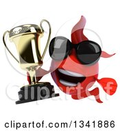 Clipart Of A 3d Red Fish Wearing Sunglasses And Holding A Trophy Royalty Free Illustration by Julos