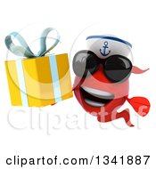 Clipart Of A 3d Happy Red Sailor Fish Wearing Sunglasses And Holding A Gift Royalty Free Illustration by Julos