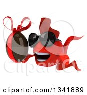 Clipart Of A 3d Red Fish Wearing Sunglasses And Holding A Chocolate Easter Egg Facing Slightly Left Royalty Free Illustration by Julos