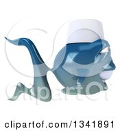 Clipart Of A 3d Blue Sushi Fish Chef Facing Right Royalty Free Illustration by Julos