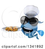 Clipart Of A 3d Blue Fish Chef Wearing Sunglasses And Holding A Plate Of Fries Royalty Free Illustration by Julos
