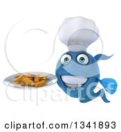 Clipart Of A 3d Blue Fish Chef Holding A Plate Of Fries Royalty Free Illustration