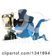 Clipart Of A 3d Blue Fish Wearing Sunglasses Holding A Trophy And Facing Left Royalty Free Illustration