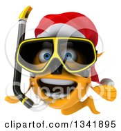 Clipart Of A 3d Excited Snorkeling Christmas Goldfish Royalty Free Illustration