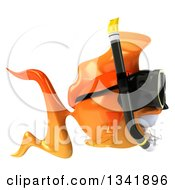 Clipart Of A 3d Snorkeling Goldfish Facing Right Royalty Free Illustration by Julos