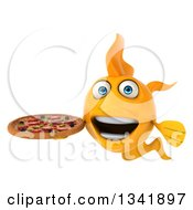 Clipart Of A 3d Excited Yellow Fish Holding A Pizza Royalty Free Illustration