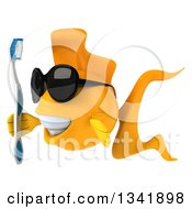 Clipart Of A 3d Happy Yellow Fish Wearing Sunglasses Holding A Toothbrush Facing Left Royalty Free Illustration