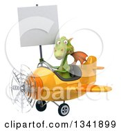 Clipart Of A 3d Green Dragon Aviator Pilot Holding A Blank Sign And Flying A Yellow Airplane Slightly To The Left Royalty Free Illustration