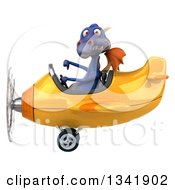 Clipart Of A 3d Purple Dragon Aviator Pilot Giving A Thumb Down And Flying A Yellow Airplane To The Left Royalty Free Illustration