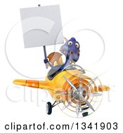 Clipart Of A 3d Purple Dragon Aviator Pilot Holding A Blank Sign And Flying A Yellow Airplane Royalty Free Illustration