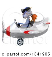 Clipart Of A 3d Purple Dragon Aviator Pilot Wearing Sunglasses And Flying A White And Red Airplane To The Left Royalty Free Illustration