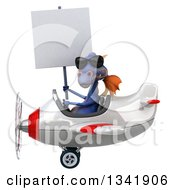 Clipart Of A 3d Purple Dragon Aviator Pilot Wearing Sunglasses Holding A Blank Sign And Flying A White And Red Airplane To The Left Royalty Free Illustration