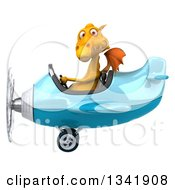 Clipart Of A 3d Yellow Dragon Aviator Pilot Flying A Blue Airplane To The Left Royalty Free Illustration