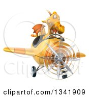 Clipart Of A 3d Yellow Dragon Aviator Pilot Flying A Yellow Airplane Royalty Free Illustration