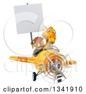 Clipart Of A 3d Yellow Dragon Aviator Pilot Holding A Blank Sign And Flying A Yellow Airplane Royalty Free Illustration