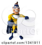 Clipart Of A 3d Muscular White Male Super Hero In A Yellow And Blue Suit Holding And Pointing To A Blank Sign Royalty Free Illustration by Julos