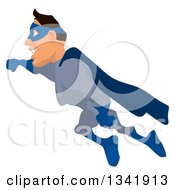 Clipart Of A Cartoon Buff White Male Super Hero Flying To The Left Royalty Free Illustration