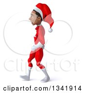 Clipart Of A 3d Young Black Male Christmas Super Hero Santa Walking To The Left Royalty Free Illustration by Julos