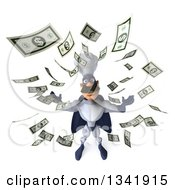 Clipart Of A 3d Caucasian Male Super Chef In A Blue And White Suit Looking Up Making It Rain Money Royalty Free Illustration
