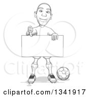 Clipart Of A Grayscale Sketched Male Soccer Player Holding A Blank Sign And Giving A Thumb Down Royalty Free Illustration by Julos