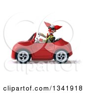 Clipart Of A 3d Funky Clown Wearing Sunglasses Giving A Thumb Down And Driving A Red Convertible Car To The Left Royalty Free Illustration