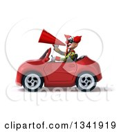 Clipart Of A 3d Funky Clown Wearing Sunglasses Announcing With A Megaphone And Driving A Red Convertible Car To The Left Royalty Free Illustration