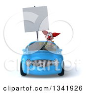 Clipart Of A 3d Funky Clown Holding A Blank Sign And Driving A Blue Convertible Car Royalty Free Illustration