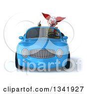 Clipart Of A 3d Funky Clown Giving A Thumb Up And Driving A Blue Convertible Car Royalty Free Illustration