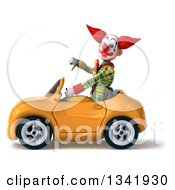 Clipart Of A 3d Funky Clown Giving A Thumb Down And Driving A Yellow Convertible Car To The Left Royalty Free Illustration