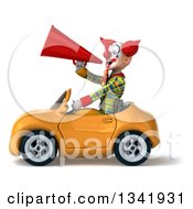 Clipart Of A 3d Funky Clown Announcing With A Megaphone And Driving A Yellow Convertible Car To The Left Royalty Free Illustration