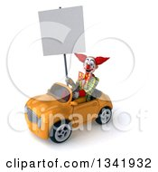 Clipart Of A 3d Funky Clown Holding A Blank Sign And Driving A Yellow Convertible Car Slightly To The Left Royalty Free Illustration