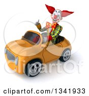 Clipart Of A 3d Funky Clown Giving A Thumb Up And Driving A Yellow Convertible Car Slightly To The Left Royalty Free Illustration