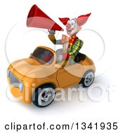 Clipart Of A 3d Funky Clown Announcing With A Megaphone And Driving A Yellow Convertible Car Slightly To The Left Royalty Free Illustration