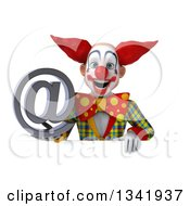 Clipart Of A 3d Funky Clown Holding An Email Arobase At Symbol Over A Sign Royalty Free Illustration