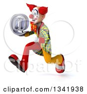 Clipart Of A 3d Funky Clown Holding An Email Arobase At Symbol And Sprinting To The Left Royalty Free Illustration