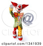 Clipart Of A 3d Funky Clown Holding An Email Arobase At Symbol And Flying Royalty Free Illustration