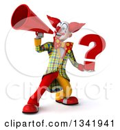 Clipart Of A 3d Funky Clown Holding A Question Mark And Announcing With A Megaphone Bullhorn Royalty Free Illustration