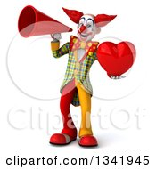 Clipart Of A 3d Funky Clown Holding A Red Love Heart And Announcing With A Megaphone Royalty Free Illustration