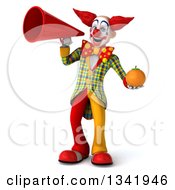 Clipart Of A 3d Funky Clown Holding A Navel Orange And Announcing With A Megaphone Royalty Free Illustration