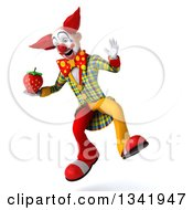 Clipart Of A 3d Funky Clown Holding A Strawberry And Jumping Royalty Free Illustration